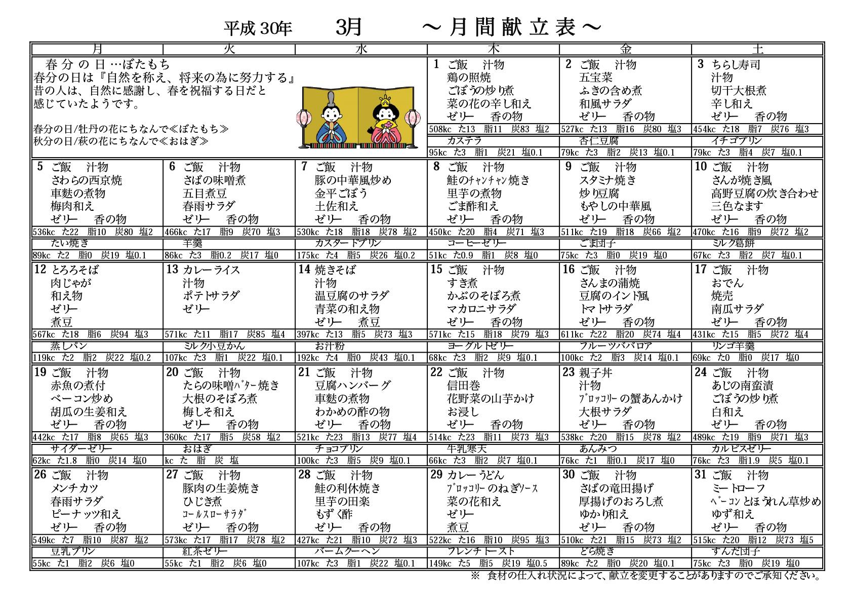 2018年3月献立表