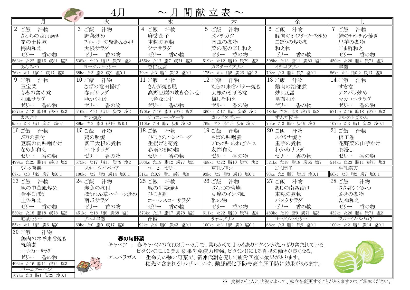 2018年4月献立表